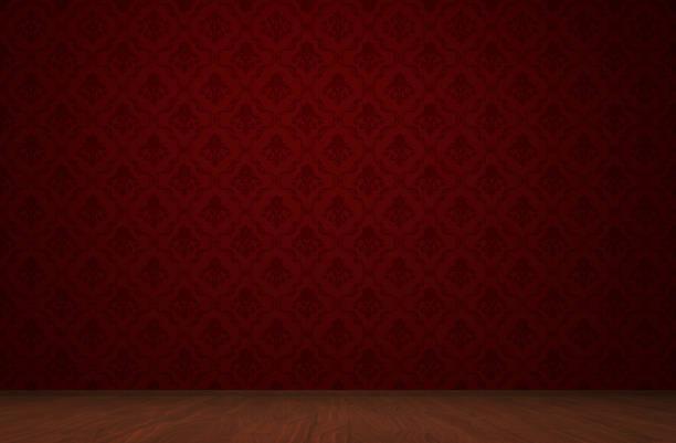 """zimmer """"rot"""" vintage-konzept - damast wand stock-fotos und bilder"""