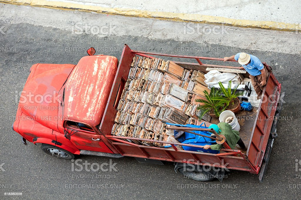 Vintage Red Truck, Elevated View, Havana, Cuba stock photo