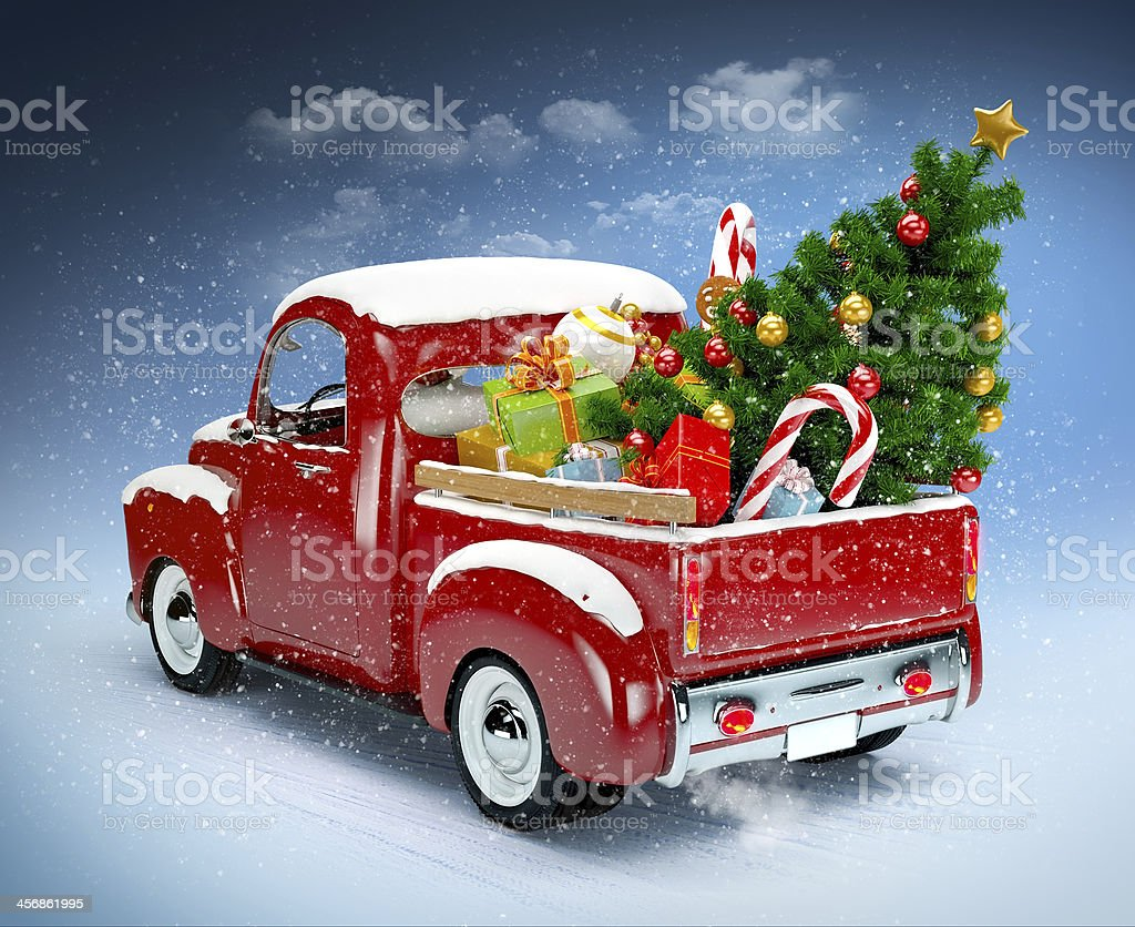 vintage red truck with christmas accessories in the back picture id456861995