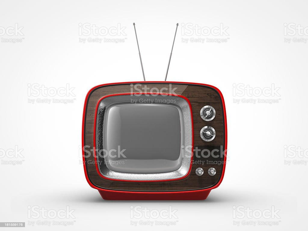 Vintage red TV in front view royalty-free stock photo