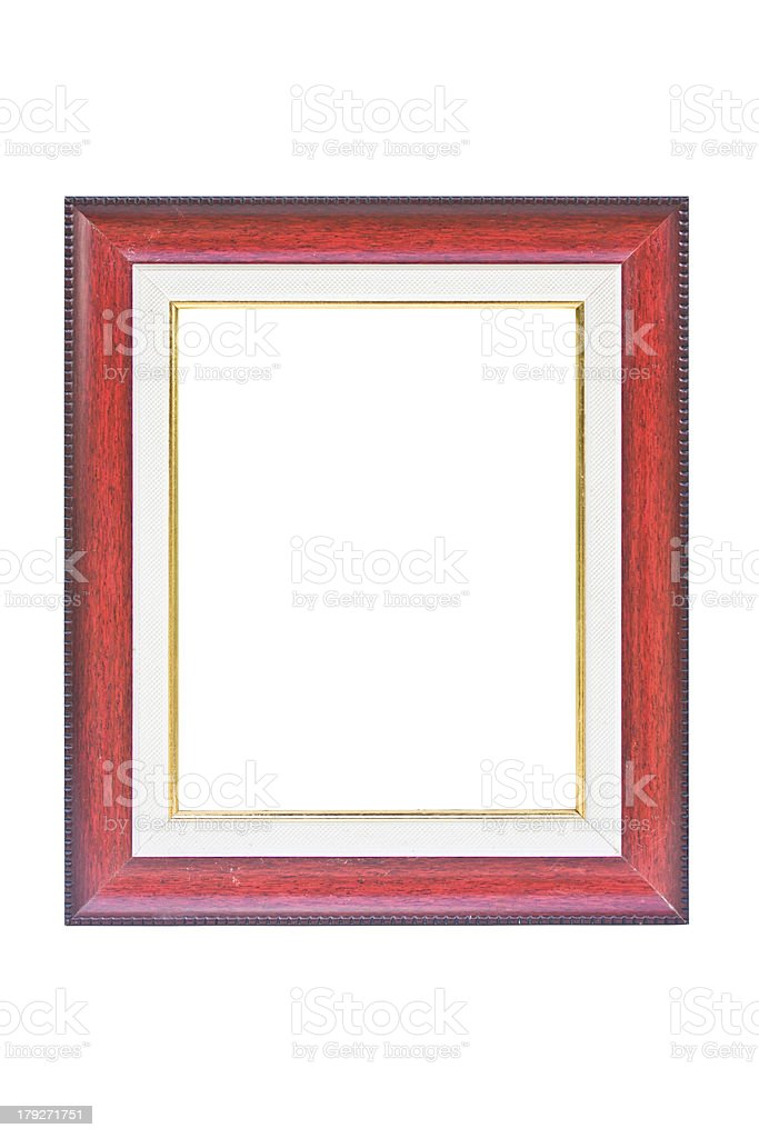 Vintage red wooden picture frame. royalty-free stock photo