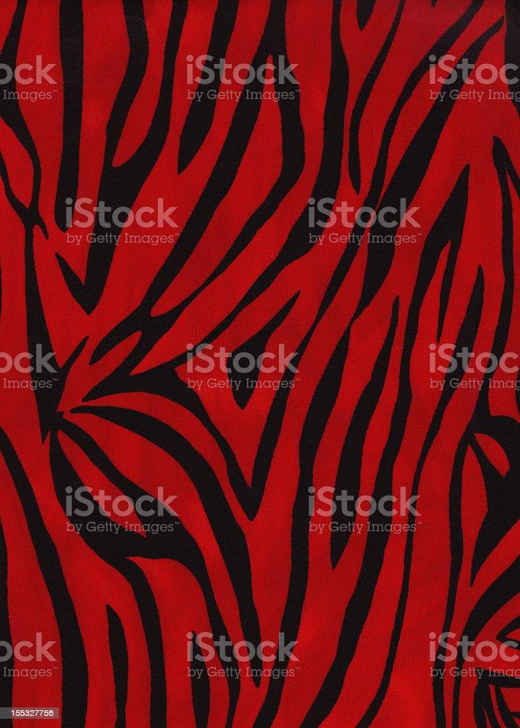 Vintage Red Zebra Print Fabric. stock photo