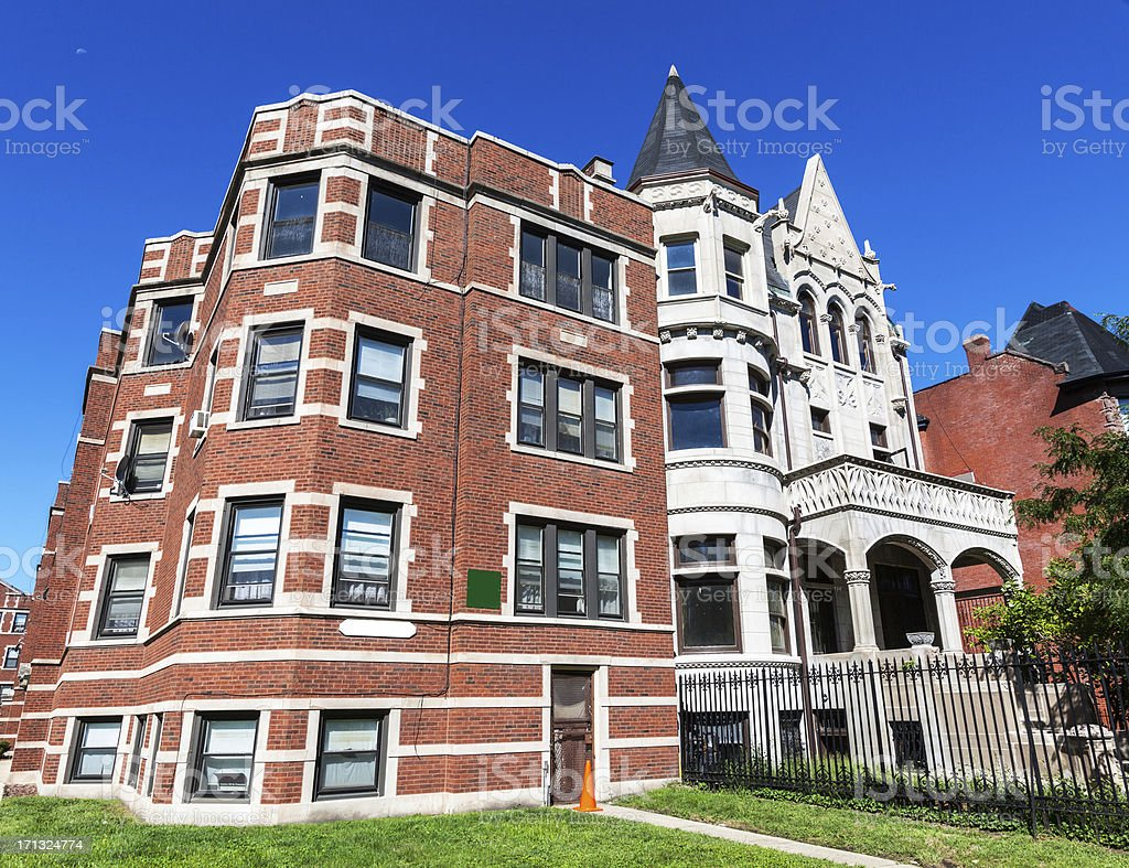 Vintage Residential Architecture in Kenwood, Chicago royalty-free stock photo