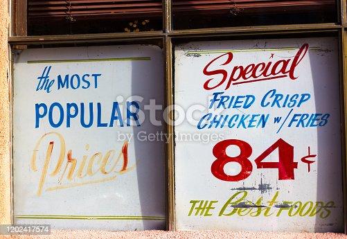 Vintage Restaurant Sign: Special Fried Crisp Chicken: 84 Cents