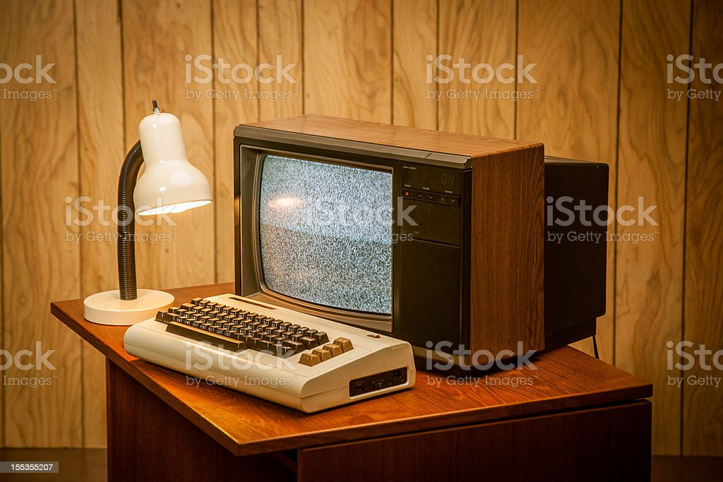 Vintage Retro Early 1980's computer old technology stock photo