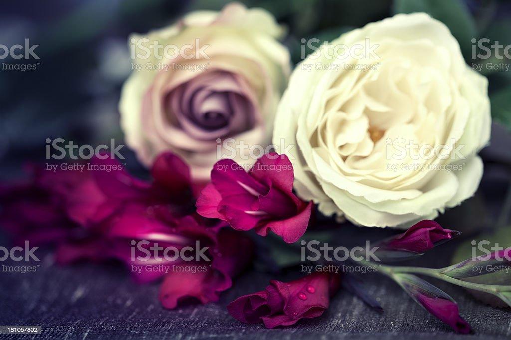 Vintage retro flowers stock photo