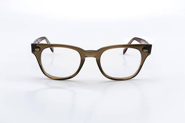 Vintage retro frame eyeglasses on white background stock photo