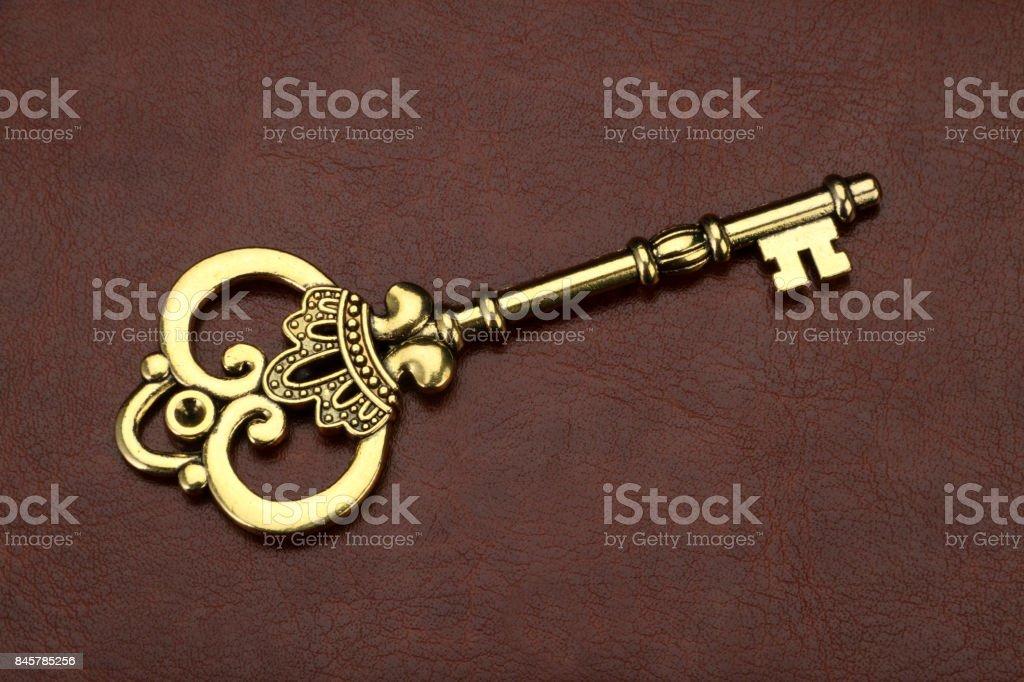 Vintage / Retro Golden Key on brown leather background stock photo