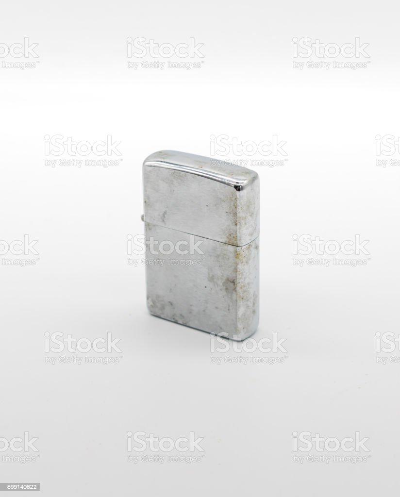 Vintage retro lighter isolated on white background stock photo