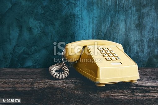 istock Vintage Retro Office Telephone with Push Button style, Old item from 1980-1990, Technology Communication for Business in the Past concept 849935476