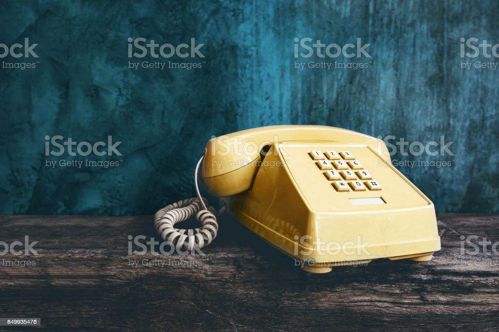 Vintage Retro Office Telephone with Push Button style, Old item from 1980-1990, Technology Communication for Business in the Past concept stock photo