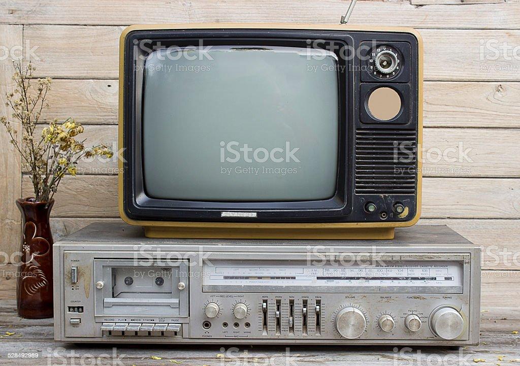 Vintage retro Radio and TV stock photo