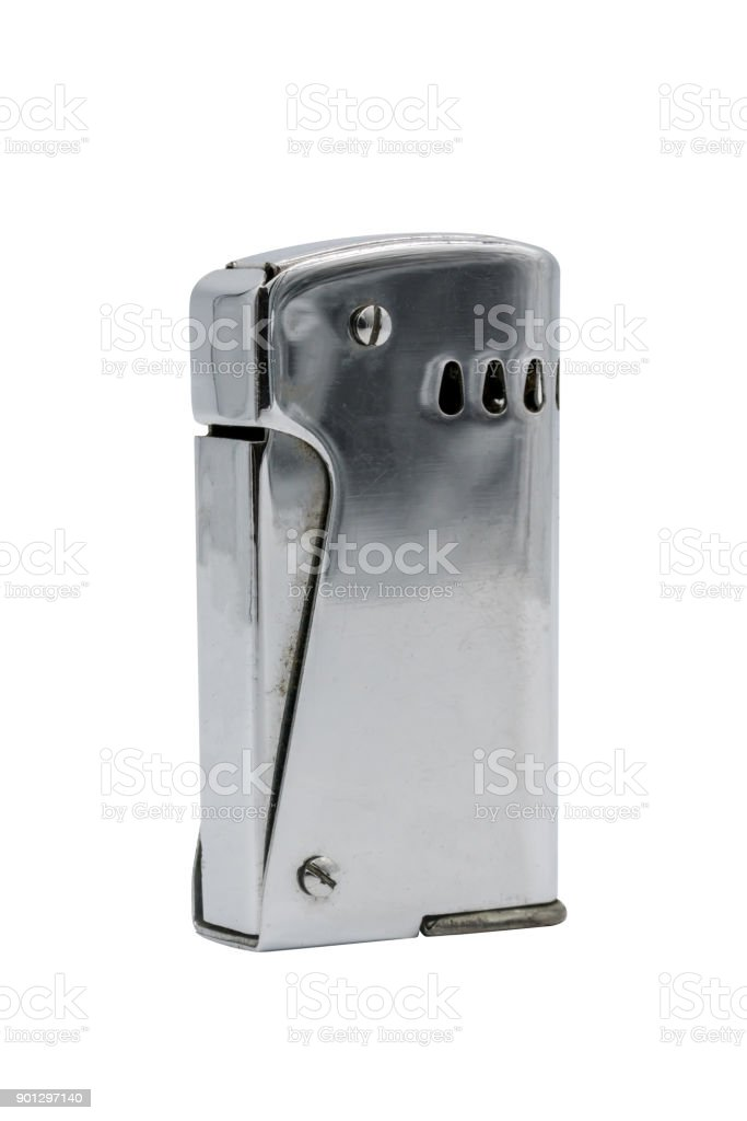 Vintage retro silver lighter isolated on white background stock photo