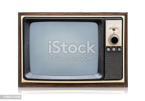 istock Vintage Retro Style old television on a white background 1036010498