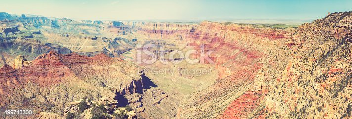 Vintage retro toned panoramic view of Grand Canyon, USA.