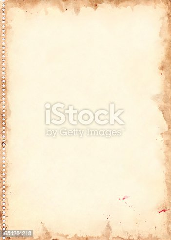 istock Vintage retro watercolor sheet background grunge texture 654284218