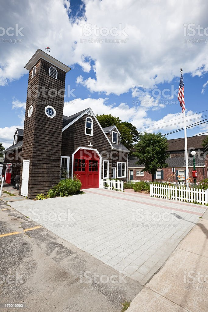 Vintage Rhode Island Fire Station at Jamestown stock photo