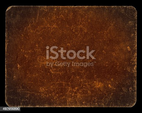 istock Vintage rich textured banner isolated on black with clipping path 492956890