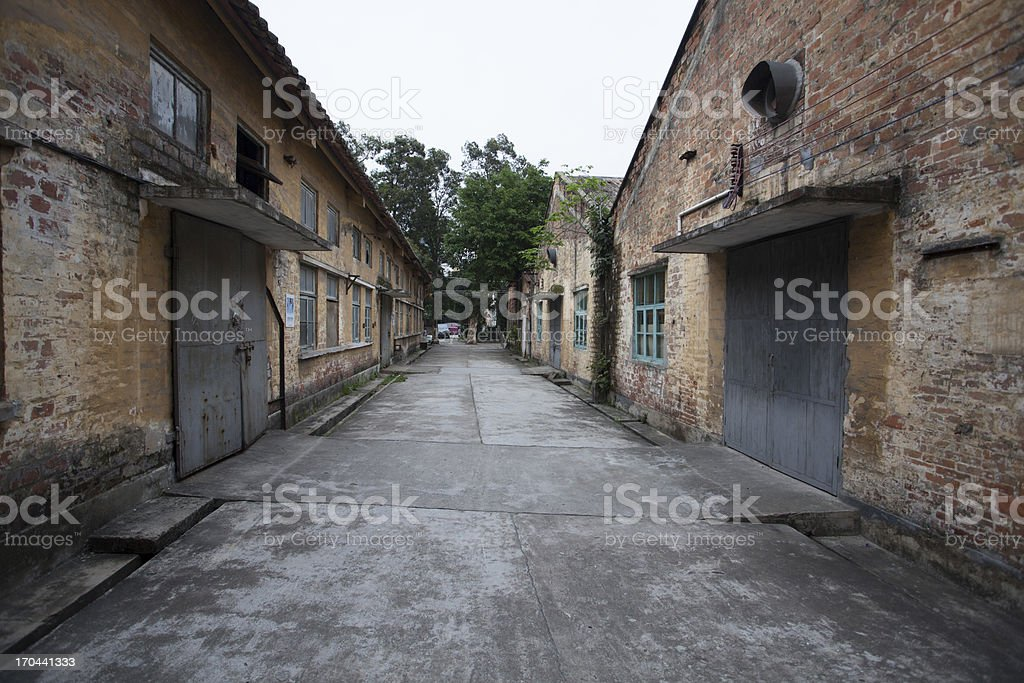 Vintage road through Buildings royalty-free stock photo