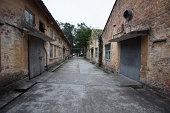 Vintage road through Buildings