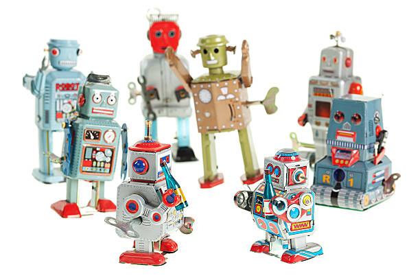 retro roboter-party - mini weinflaschen stock-fotos und bilder