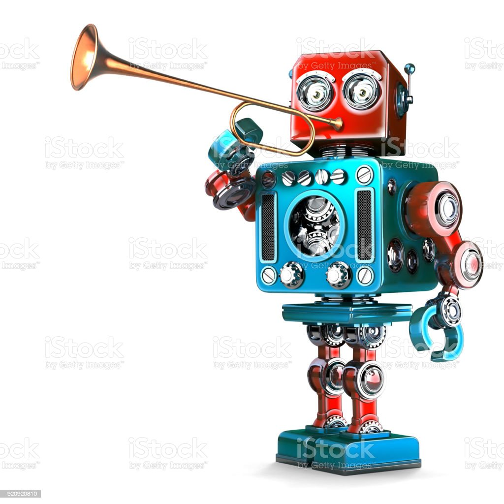 Vintage Robot playing trumpet. 3D illustration. Isolated. Contains clipping path stock photo