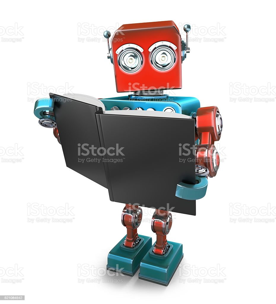 Vintage robot with books. Isolated. Contains clipping path Vintage robot with books. Isolated over white. Contains clipping path Adult Stock Photo
