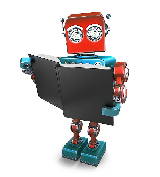 Vintage robot with books. Isolated. Contains clipping path stock photo