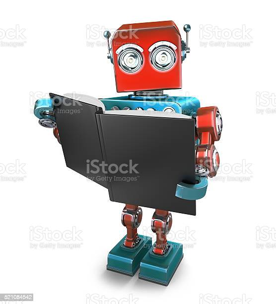 Vintage Robot With Books Isolated Contains Clipping Path Stock Photo - Download Image Now