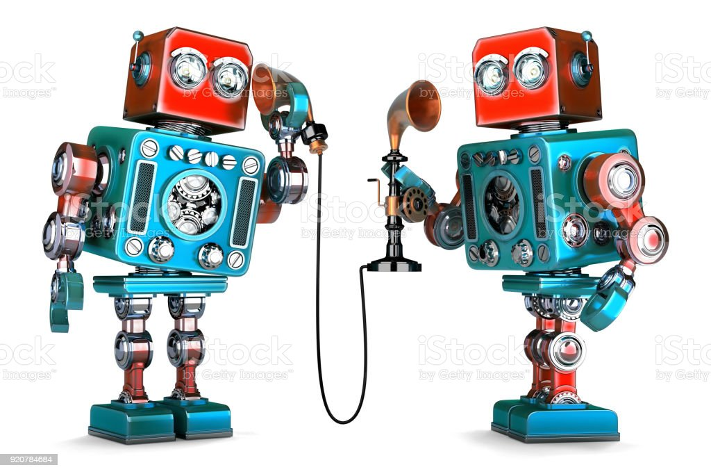 Vintage Robots having a phone conversation. 3D illustration. Isolated. Contains clipping path stock photo