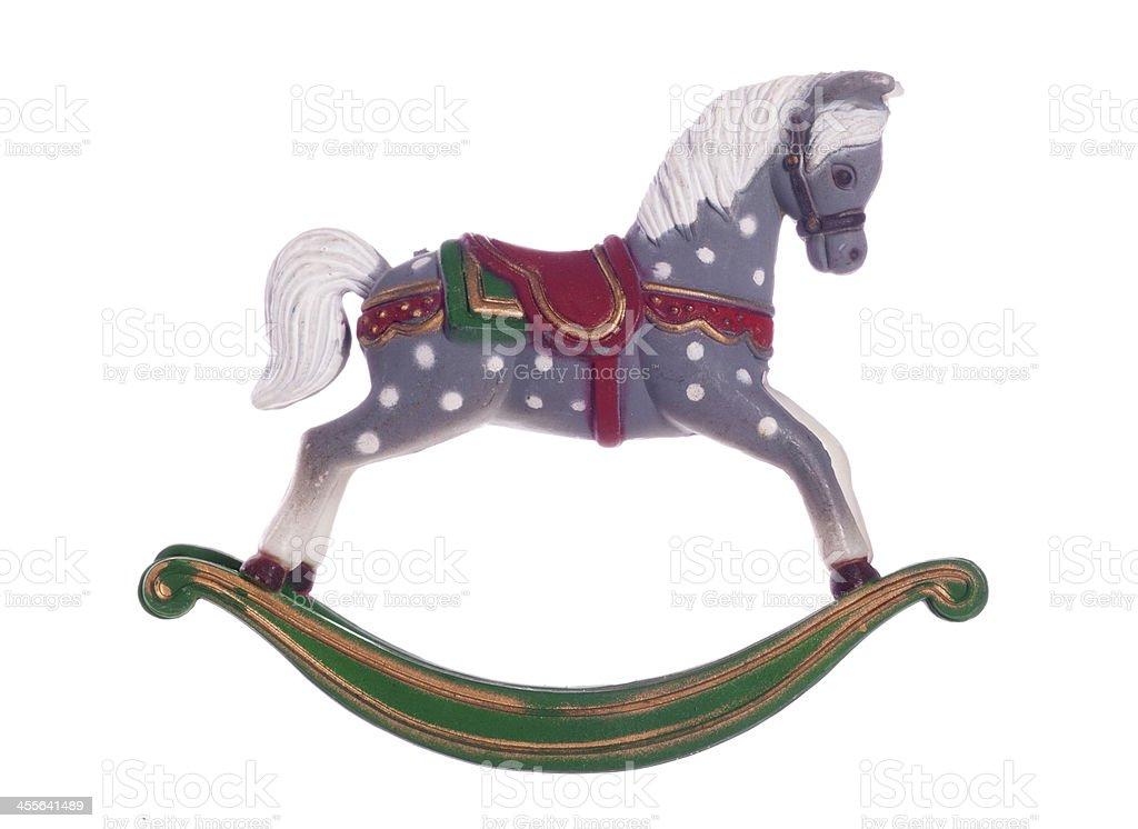 Vintage rocking horse christmas decoration stock photo