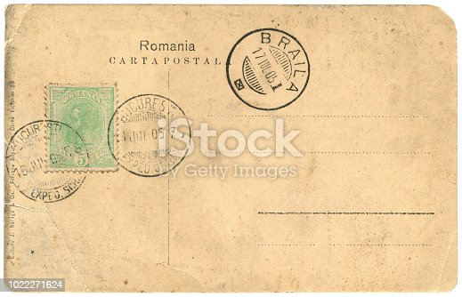 vintage Romanian postcard sent from Bucharest to Braila in 1905, blank, a very good background for any usage of the historic postcard communications.