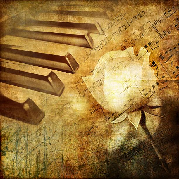 vintage romantischen hintergrund - piano noten stock-fotos und bilder