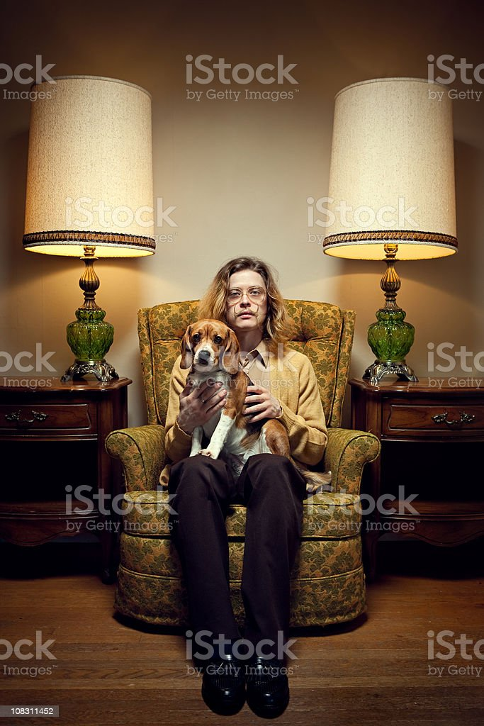 Vintage Room and Mustache Man royalty-free stock photo