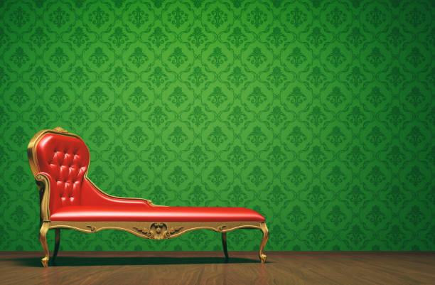 vintage couch raumkonzept mit exemplar - damast wand stock-fotos und bilder