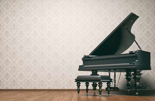 Vintage room with a piano