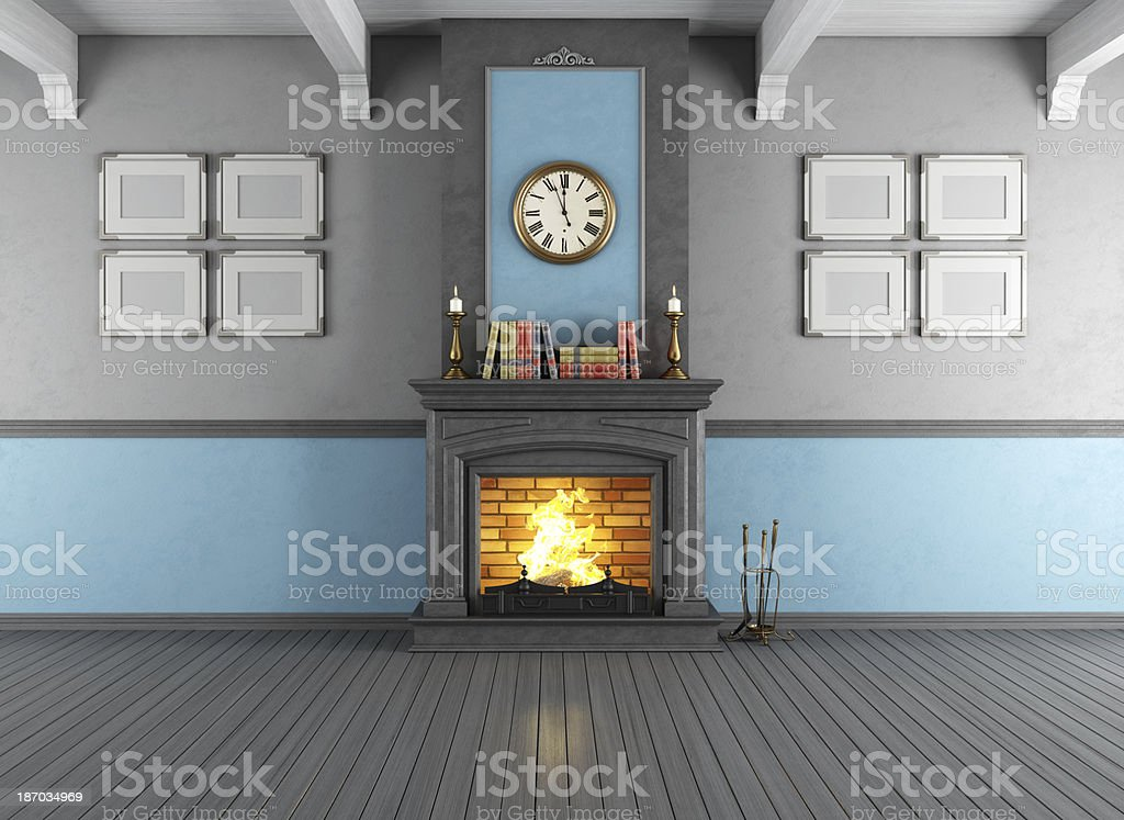 Vintage room with fireplace royalty-free stock photo