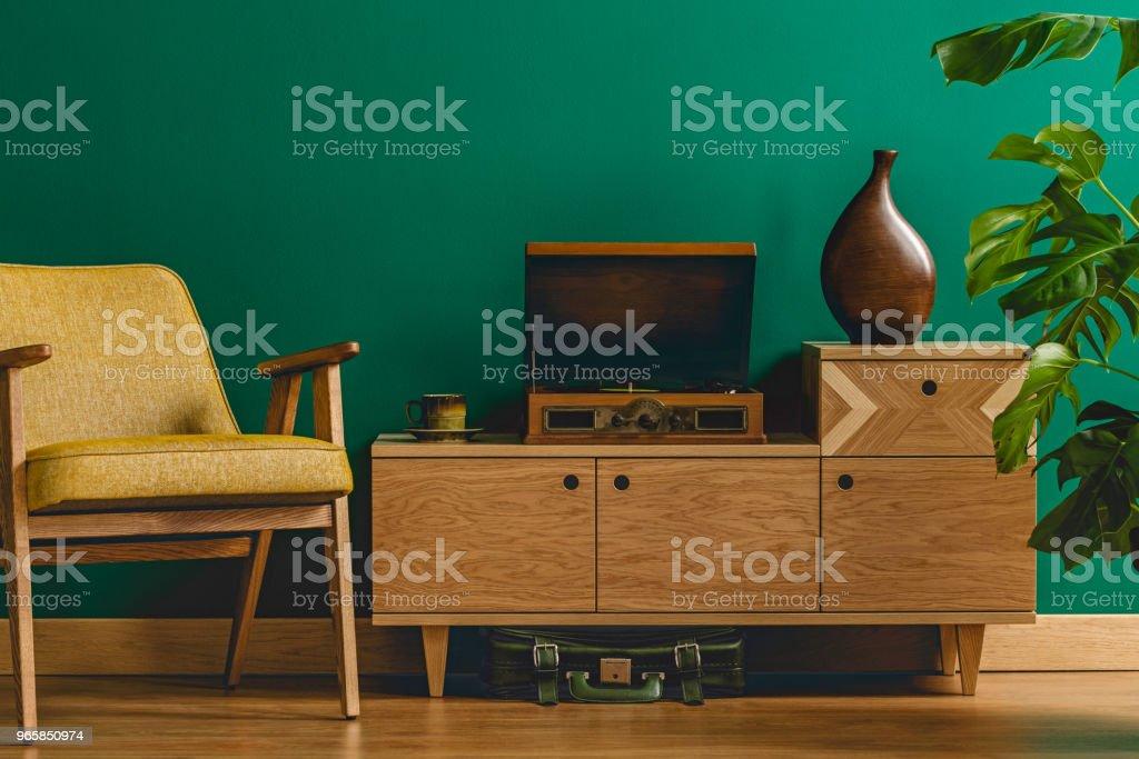 Vintage room with gramophone - Royalty-free Amarelo Foto de stock
