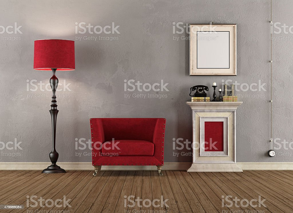 Vintage room with red armchairs stock photo