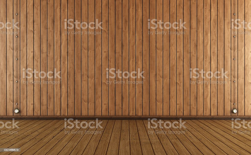 Vintage room with wooden wall paneling stock photo