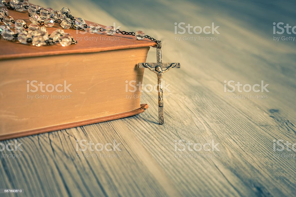 Vintage rosary close up stock photo