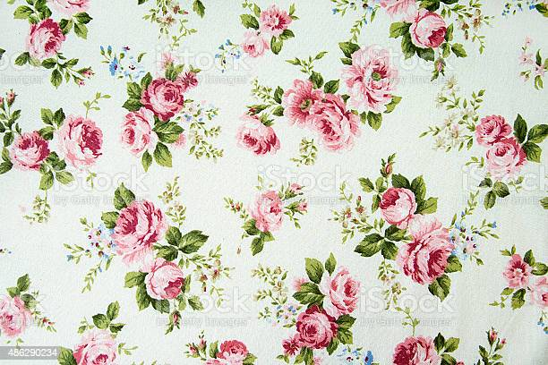 Vintage Rose Pattern On Fabric Background Stock Photo - Download Image Now