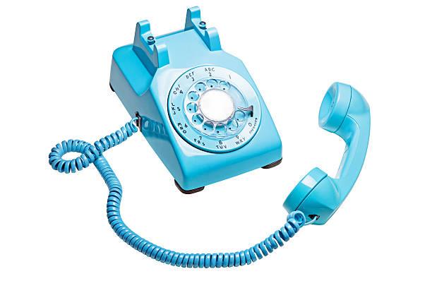 telefono d'epoca rotativo off the hook - cornetta telefono foto e immagini stock