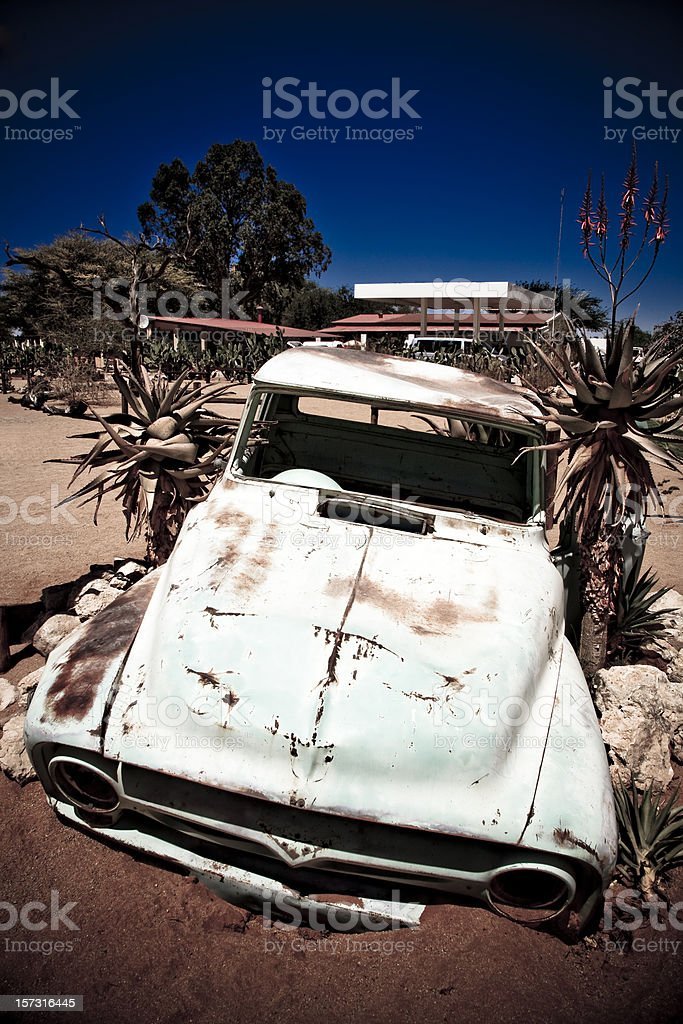 Vintage Rotting Car Wreck royalty-free stock photo