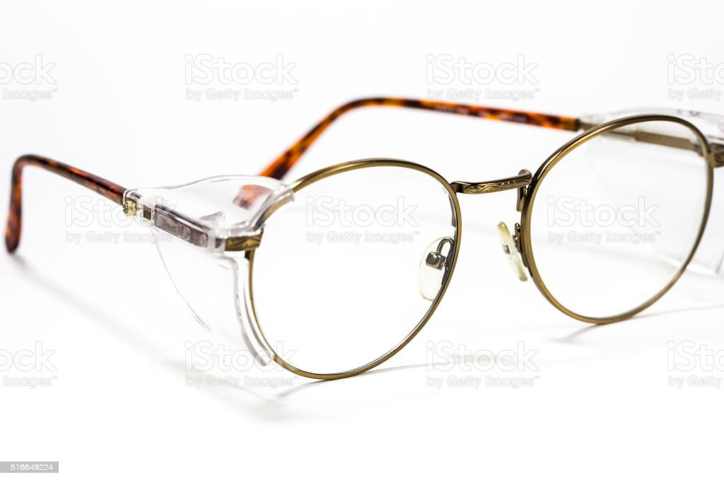 Vintage round eyeglasses isolated on white stock photo
