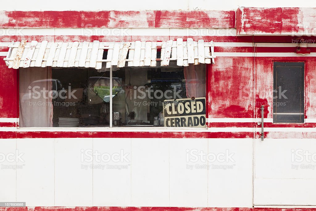 Vintage Route 66 Diner, Out of Business, Closed stock photo