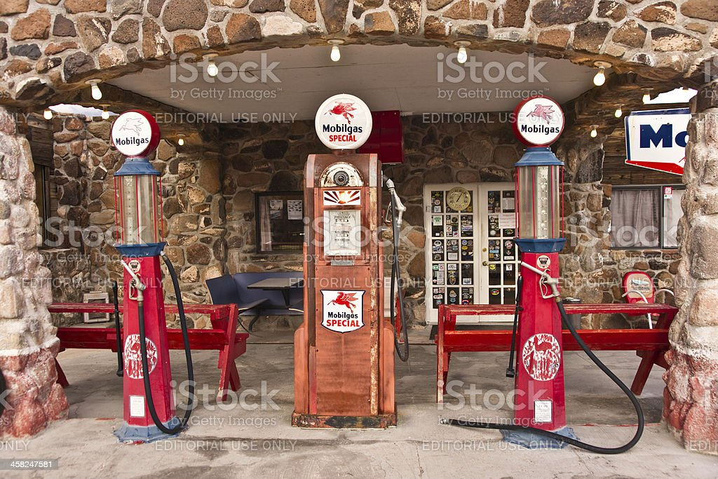 Vintage Route 66 Gas Station Stock Photo - Download Image