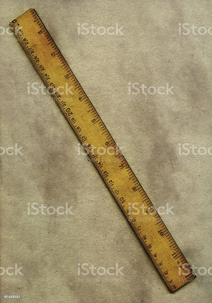 Vintage ruler and paper royalty-free stock photo