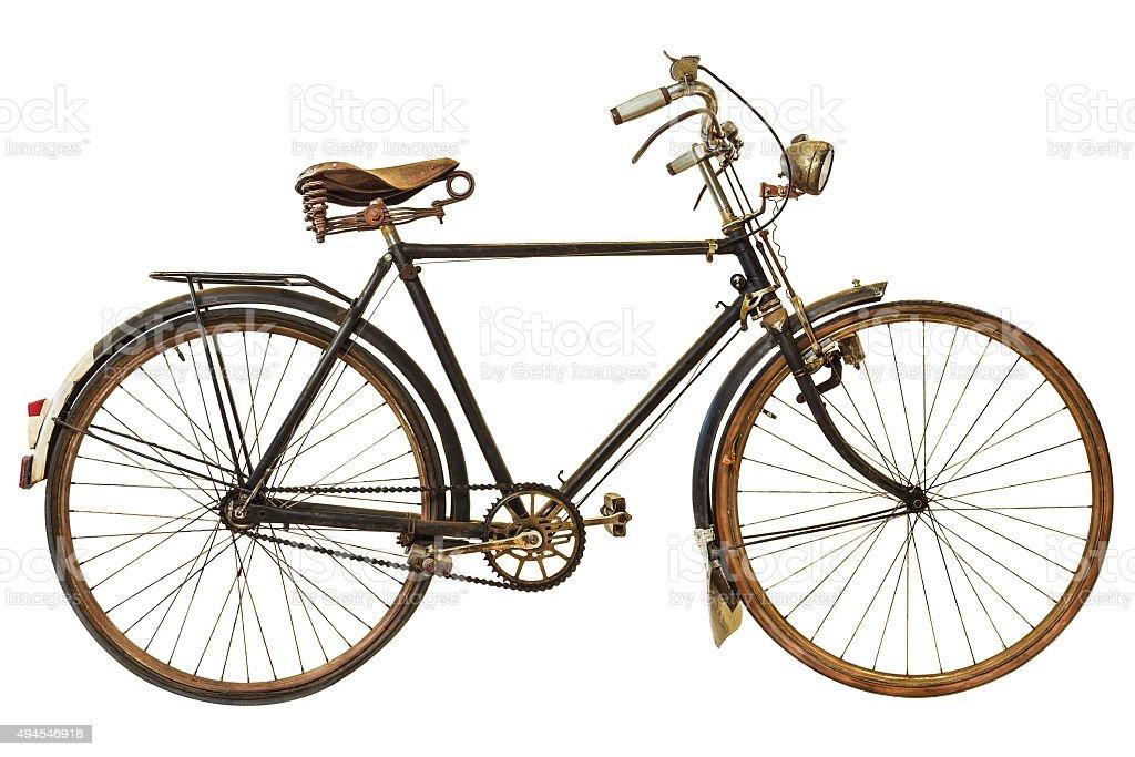 Vintage oxidadas bicicleta Aislado en blanco - foto de stock