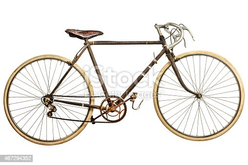istock Vintage rusted race bike isolated on white 467294352